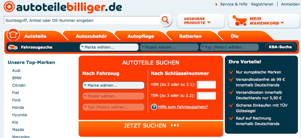 www.autoteilebilliger.de  - Autoteile günstig kaufen